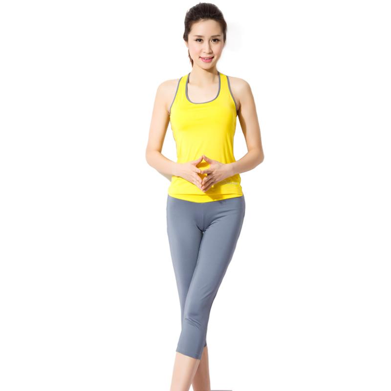 高温背心瑜伽服时尚跳操女款夏季健美有氧健身服套装七分裤跑步运动服拉手v高温图片
