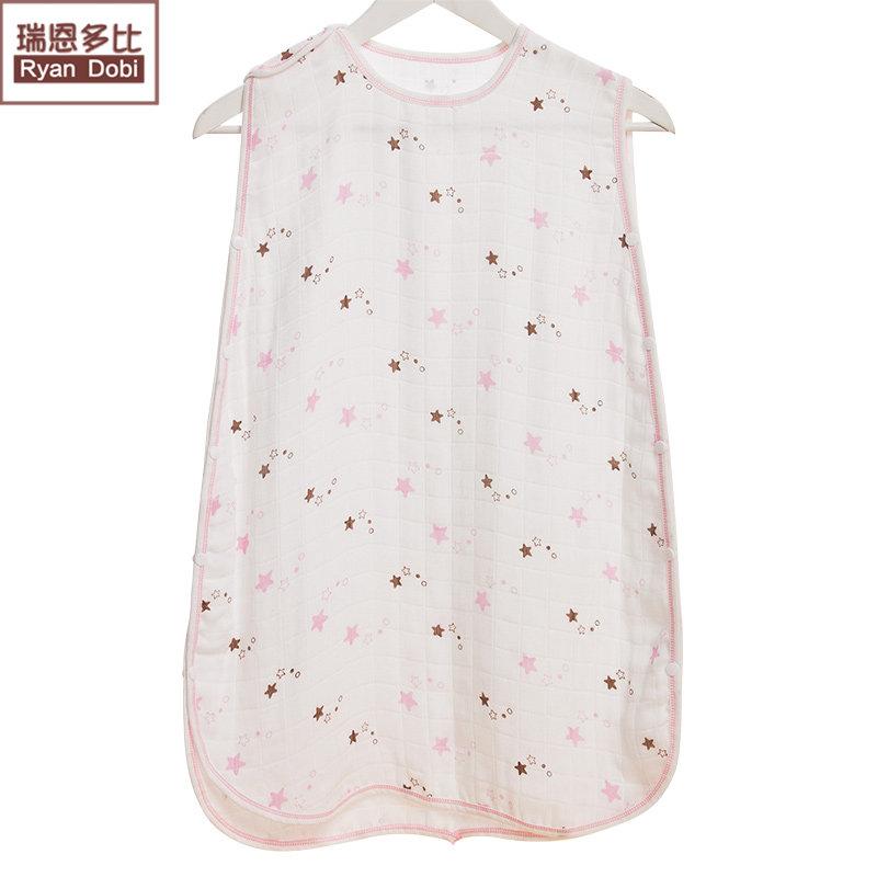 瑞恩多比婴儿纱布睡袋宝宝背心式睡袋夏季薄睡袋空调房包被sd001 白底