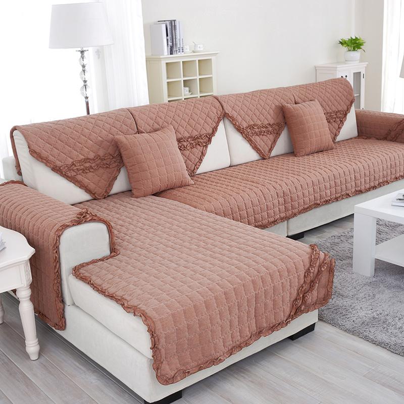 绿幽谷全棉沙发垫套装防滑罩巾皮沙发垫子靠背垫椅子坐垫 咖啡-江南