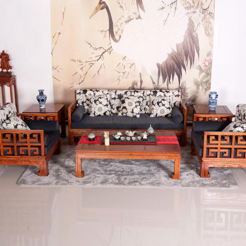 新中式沙发 客厅组合沙发 六件套gj-1619 沙发六件套不带坐垫图片
