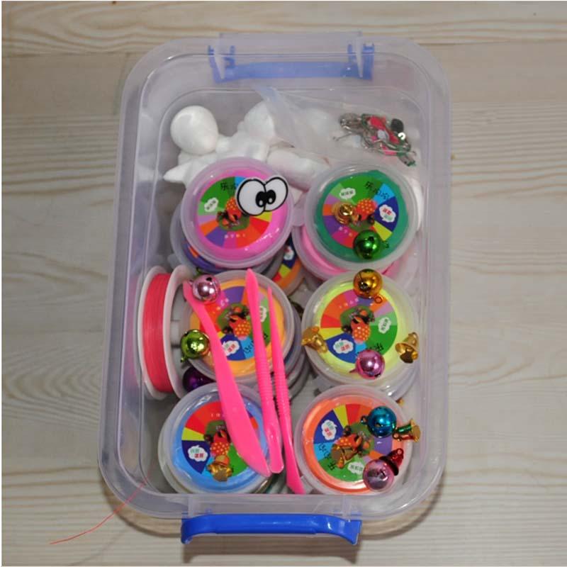 无毒环保24盒珍珠泥diy玩具送教程送工 24色超轻粘土送精装整理箱礼盒