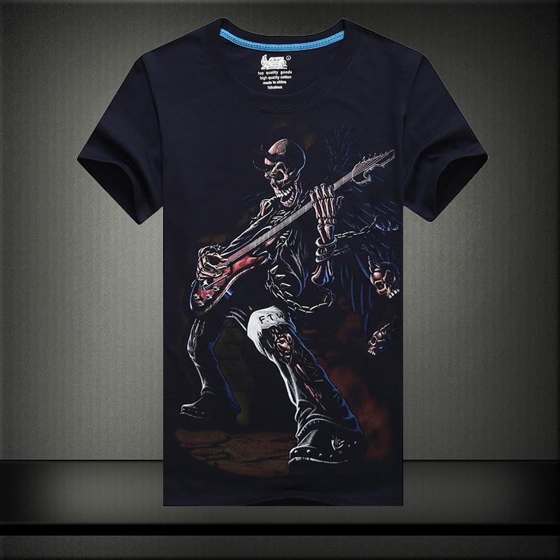 锦雪飞虹 3d图案印花男士圆领短袖t恤 加大码男士半袖t恤衫 纯棉吉他