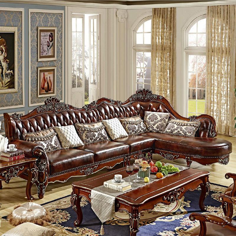 顾家邻居 欧式沙发头层真皮 客厅实木l型雕花美式古典图片