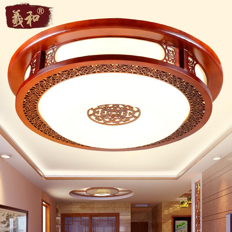 羲和中式灯具 led卧室吸顶灯 实木亚克力餐厅灯 80113图片