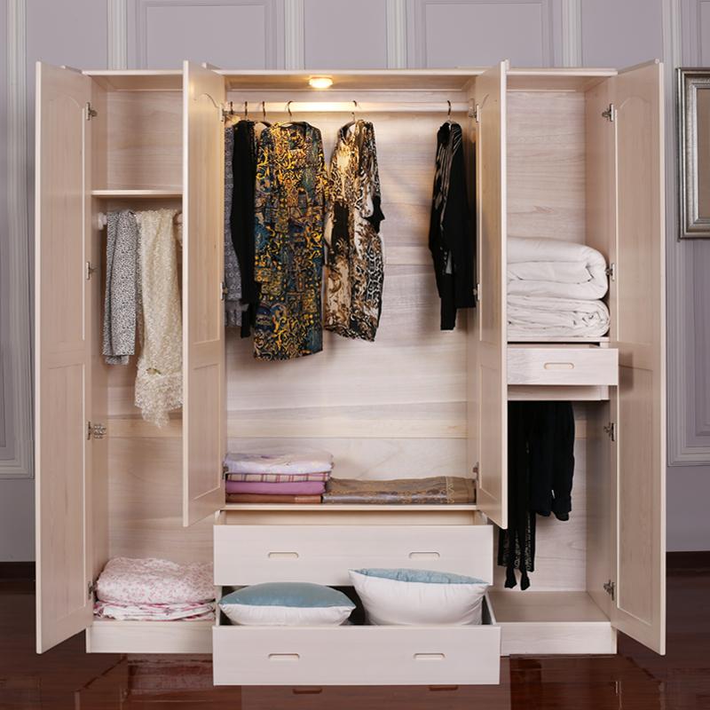 实木衣柜整体橱象牙白色衣柜欧式松木家具