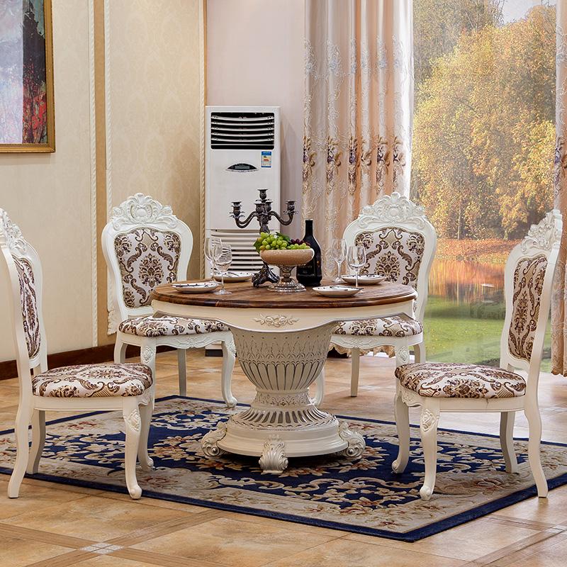 和臣木 欧式餐桌 法式田园餐桌 地中海实木简约圆餐桌图片