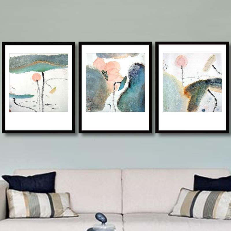 锦艺 新中式油画荷花装饰画 客厅壁画卧室画 沙发背景图片