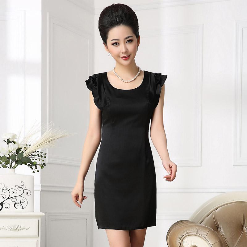 2015夏装 高端大牌 修身短袖真丝连衣裙93%桑蚕丝杭州图片