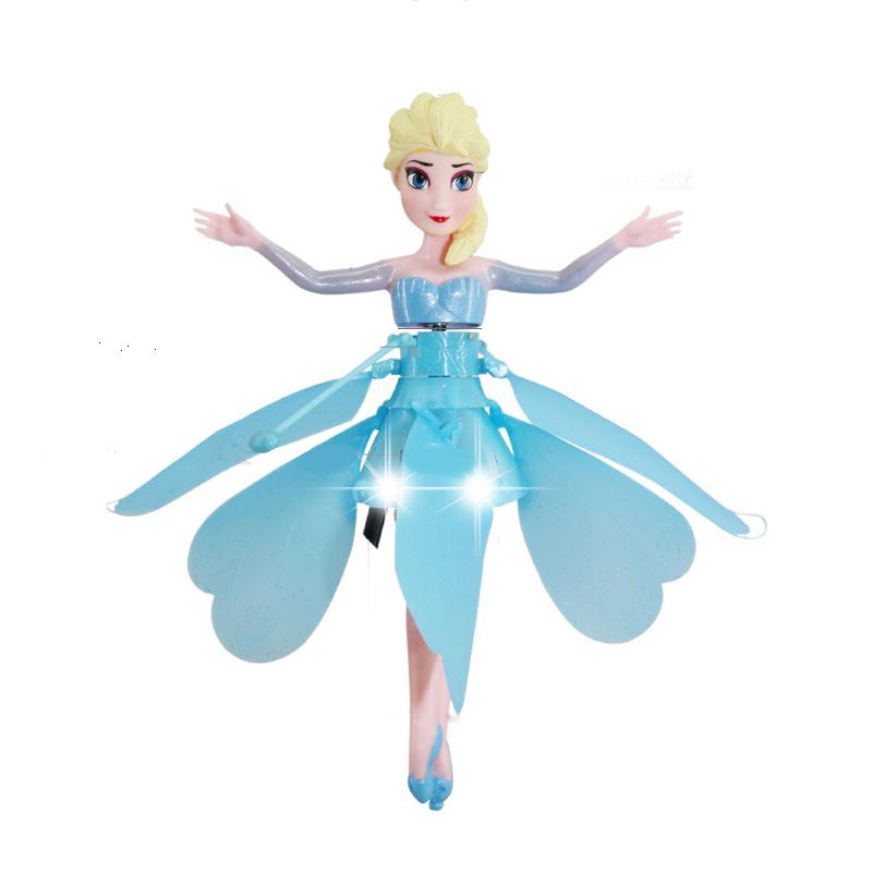 冰雪奇缘公主公主充电芭比娃会飞的娃娃遥控飞机飞天小仙女感应飞行