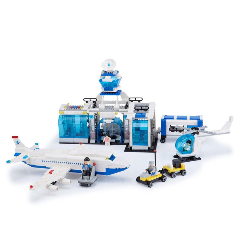 智慧帆 国际机场拼装积木玩具启蒙益智飞机模型民用 客机飞机场 拼插
