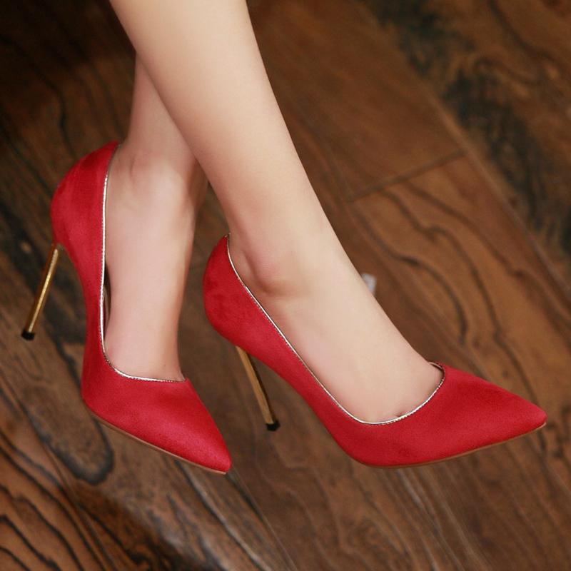 2015春夏女鞋子 性感高跟鞋亮片尖头鞋 磨砂皮浅口绒面细跟女士单鞋