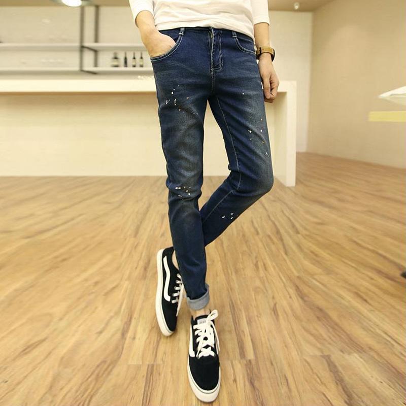 韩版潮流男士水洗牛仔裤男款修身小脚裤青少年