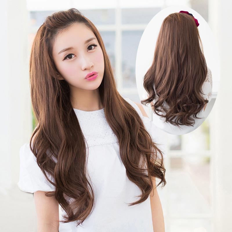 上上梳半头套假发 女士长卷发 大波浪中长发梨花头时尚逼真发型 深图片