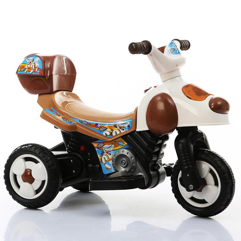 儿童电动车摩托车 童车宝宝玩具车电瓶车音乐 咖啡色