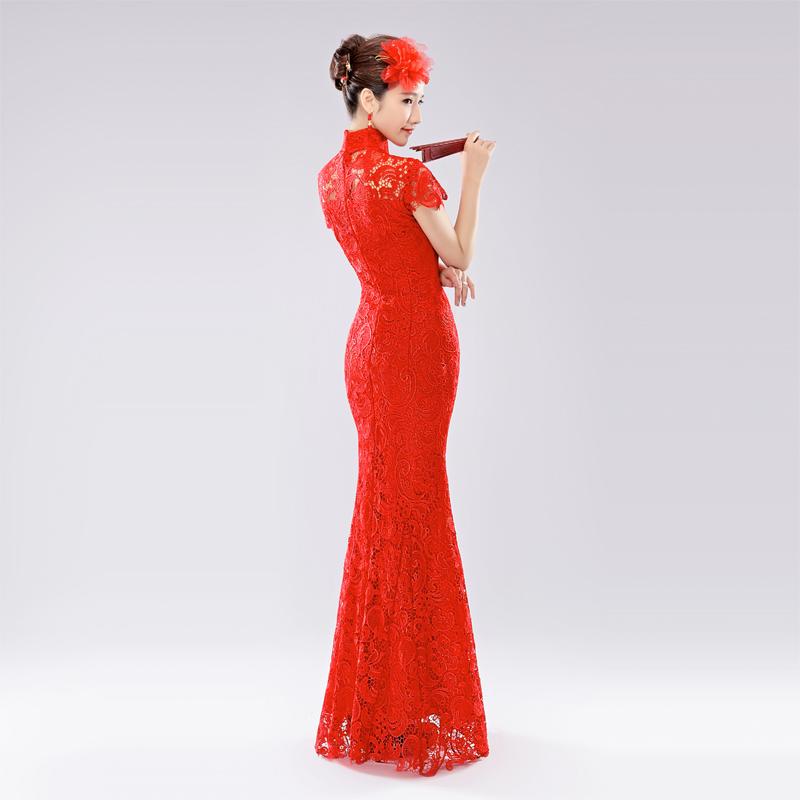 婚纱礼服旗袍结婚新娘敬酒服鱼尾蕾丝红色长款