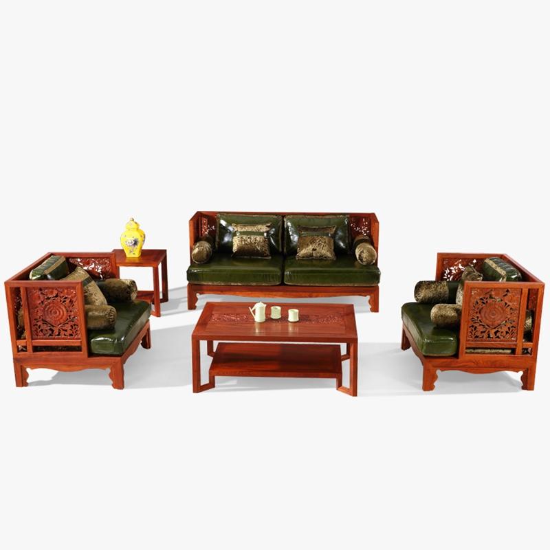 龙森 现代新中式全实木花梨木沙发 刺猬紫檀红木家具