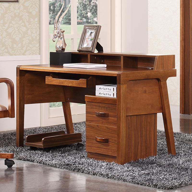 馨王巢家具 新中式胡桃木色乌金木色s201实木书桌电脑