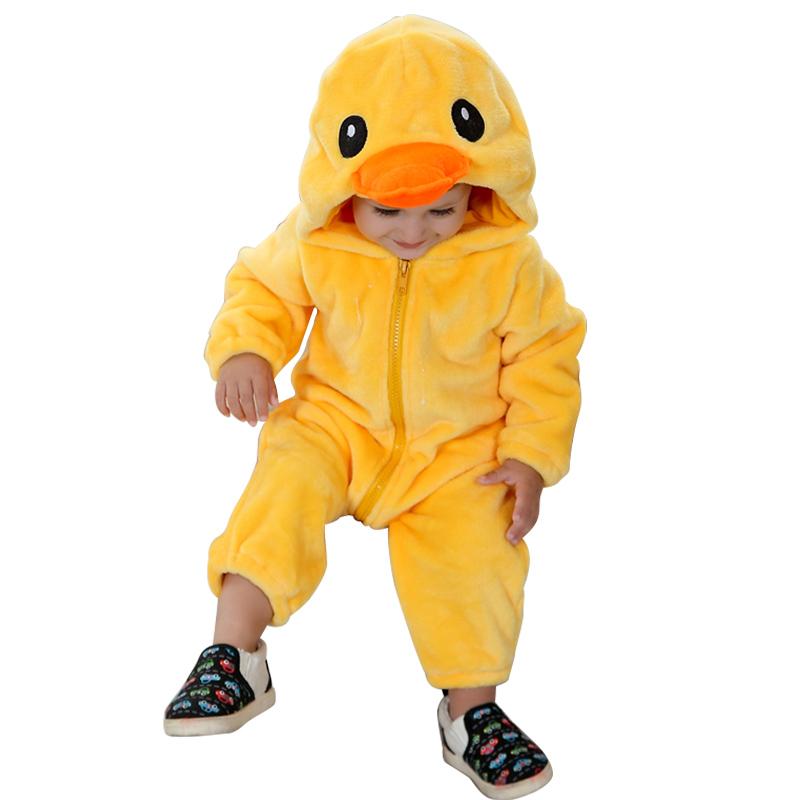 新款婴儿连体衣宝宝动物造型哈衣 0-2岁新生儿连身衣爬服法兰绒面料