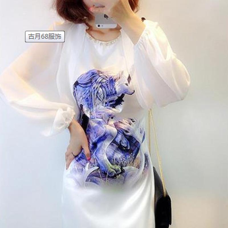 柯仕道2015夏季女装新款圆领雪纺灯笼袖狐狸图案甜美连衣裙h1024 白色