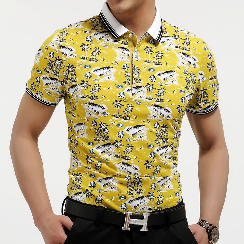 男士翻领纽扣花纹图案商务休闲丝光棉短袖t恤男jb002aa 黄色 190104