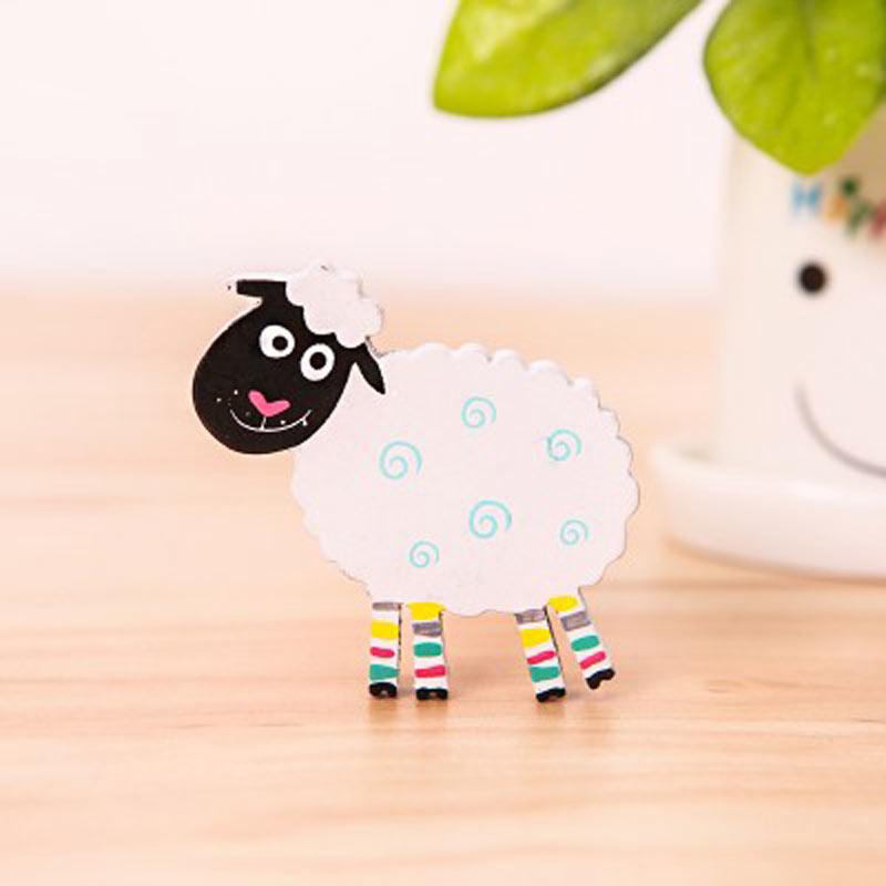 创意可爱木质卡通动物糖果色韩国小小冰箱贴磁铁吸铁石 白色 大绵羊