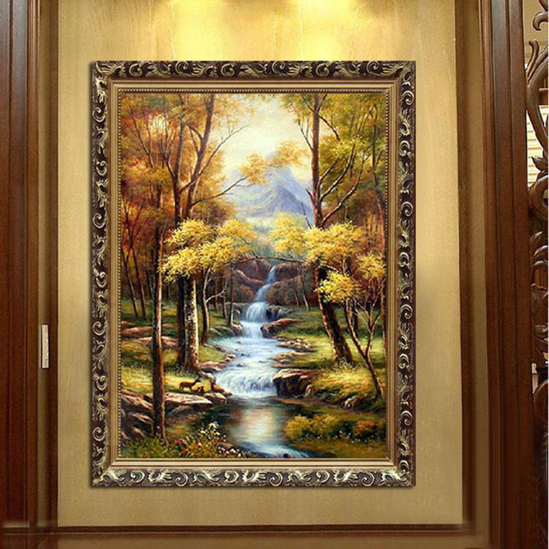 水竞玄关油画走廊装饰画书房壁画竖版欧式古典山水风景画三只小鹿