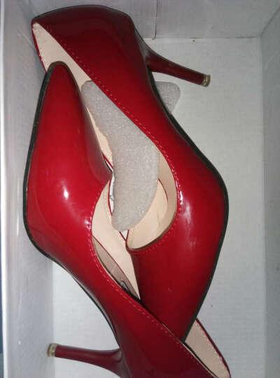 歌山品悦    春季新款高跟鞋时尚尖头细跟性感单鞋女中跟工作鞋 红色 37 晒单图