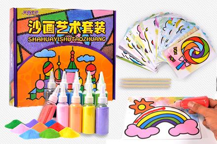 儿童沙画套装 宝宝手工制作diy刮画胶画幼儿彩砂绘画玩具26张图案