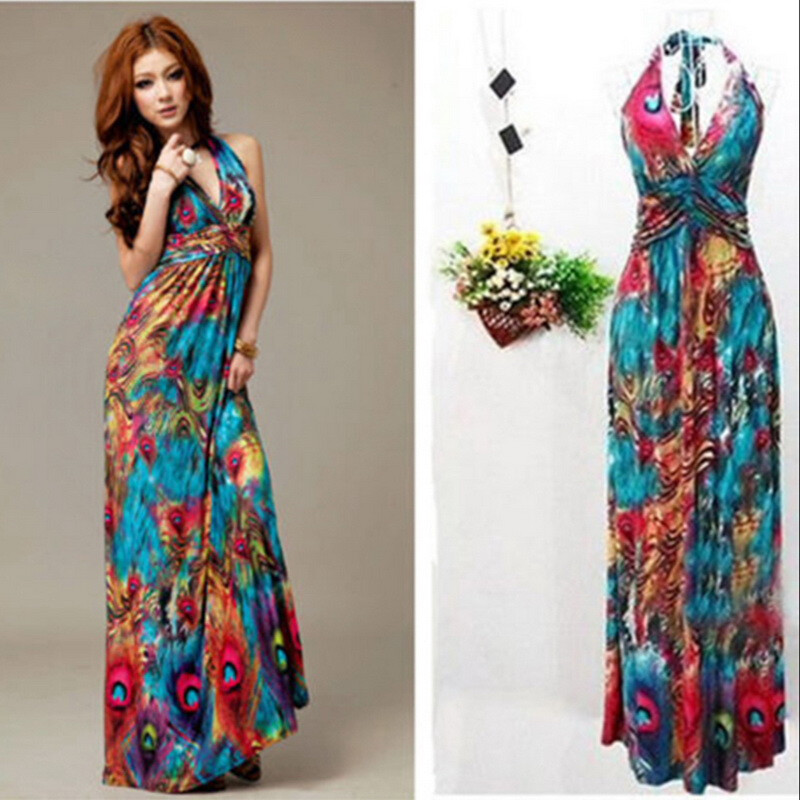 Sexy Women Summer Boho Halter V-Neck Maxi Evening Party Beach Long Dress Skirt