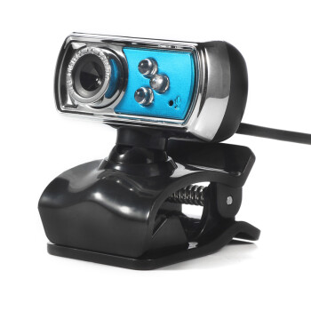 VKTECH  HD 12.0 MP 3 LED USB Webcam Camera with Mic Night Vision for PC blue
