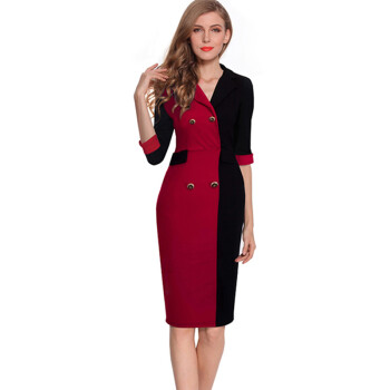 2016 New Arrival Women Winter Dress Half Sleeve Turn-Down Collar Red And Black Patchwork Pencil Dresses Casual Style