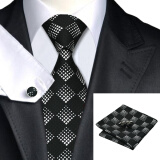 Men's Accessories-N-0258 Vogue Men Silk Tie Set Black Plaid Necktie Handkerchief Cufflinks Set Ties For Men Formal Wedding Business wholesale on JD