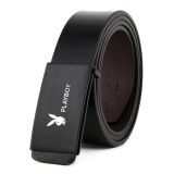 Men's Accessories-Playboy Men's Leather belt, free simple fashion leisure widened leather buckle belt,MT3060741-2 black, average size(110-130) on JD