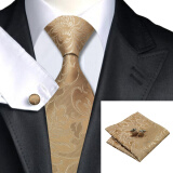 Men's Accessories-N-0309 Vogue Men Silk Tie Set Brown Floral Necktie Handkerchief Cufflinks Set Ties For Men Formal Wedding Business wholesale on JD