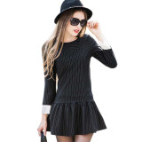 Dresses-2015 New Autumn And Winter Black Plus Size Dress Women Slim Thin Stripe Dress Long Sleeved on JD