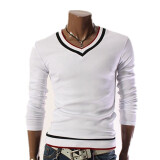 Shirts-Zogaa New Korean Men's T-shirt Contrast Color Slim Long Sleeve on JD