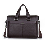 Luggage & Bags-P.kuone? men briefcase genuine leather business bag 14' leather laptop briefcase shoulder bags men's messenger travel bags on JD