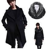 Jackets & Coats-Men trench coat winter warm outwear long double breasted overcoat fur collar on JD