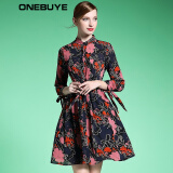 Dresses-ONEBUYE Long sleeve chiffon dress of printing A word on JD