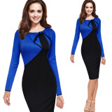 Dresses-Women Round Collar Long Sleeve Dress Work  Party Wear  Patchwork Dress on JD
