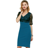 Dresses-Kenancy Sexy V-Neck Lace Top Half Sleeve Zipper Office Dress on JD