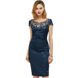 Dresses-Gamiss Women Fabric Dress Embroidered Ruched Pencil Bodycon Evening Dress on JD