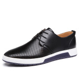 New 2017 Men Casual Shoes Leather Breathable Holes Luxury Brand Flat Shoes for Men