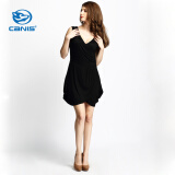 CANIS@Women's V Neck Bodycon Pleated Evening Mini Dress
