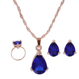 Royal Blue Jewelry Water Drop Earrings Pendant Necklace female Accessory Ожерелье  Серьги