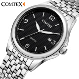 Comtex Brand Business Men's Watch Alloy Wrist Watches Analog Display Quartz Movement Waterproof Calendar Watches Men