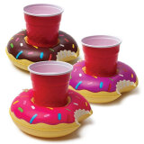ZF2213400 3pcs/set Colorful PVC Inflatable Donuts Summer Beer Juice Drink Cup