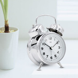 3.5 Inch Student Classic Metal Bell Alarm Clock Silent Sweep Retro Needle Table Clock Backlight Quartz Mini Desk Clock