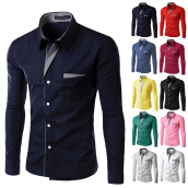 Casual Shirts-High quality 2017 New Fashion Men's Slim  Pure colour Men long sleeve shirt  Casual office Dress shirt blouse on JD