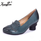 Pumps-Xiangban genuine leather women shoes heeled female footwear original design shoes hand carved peacock on JD